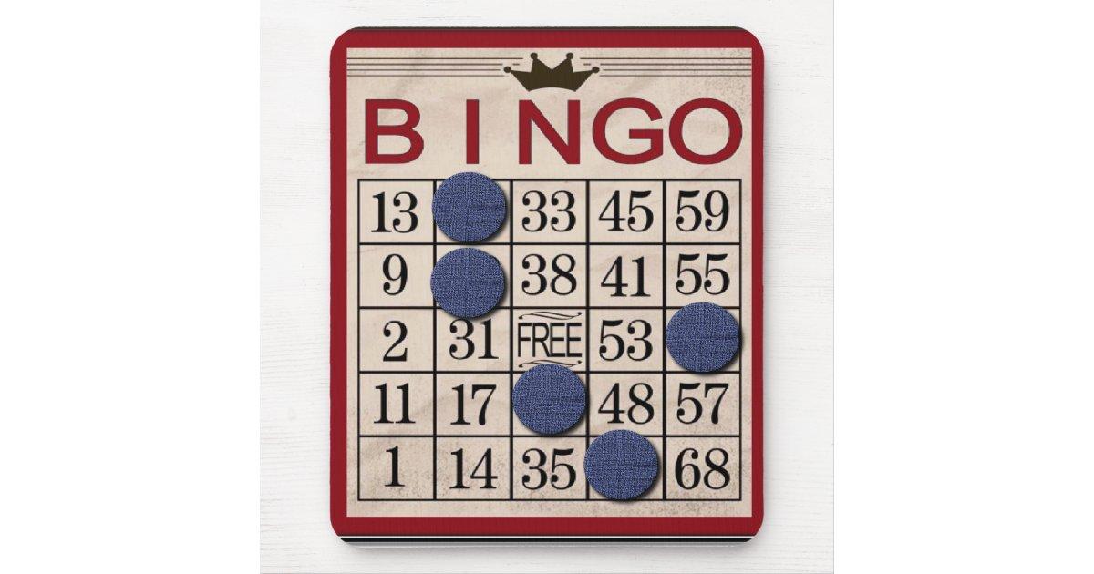 R tro carte de bingo test dr le tapis de souris zazzle for Surface minimum bureau code du travail