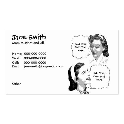 Rétro carte de contact de mère et de fille carte de visite