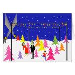 Rétro carte de Noël de ferme d'arbre de Noël