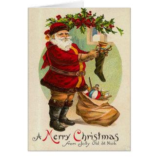 Rétro carte de Noël de Père Noël