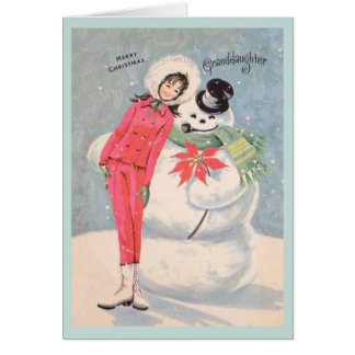 Rétro carte de Noël de petite-fille