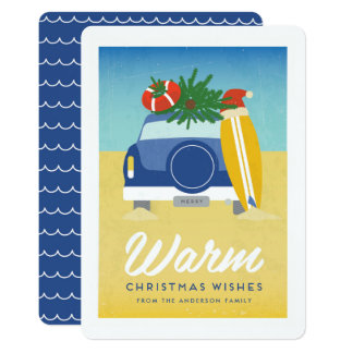 Rétro carte de Noël de plage de surf et de sable
