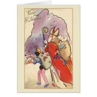 Rétro carte de Noël française de St Nicolas de