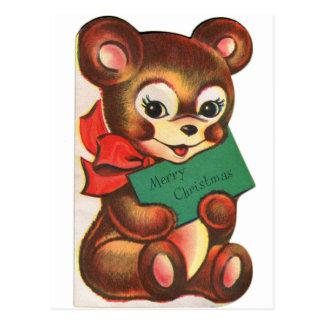 Rétro carte de Noël vintage de kitsch peu d'ours