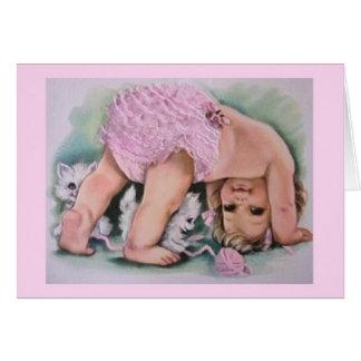 Rétro carte de note de bébé et de chatons