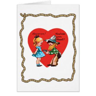 Rétro carte de Saint-Valentin de corde de coeur de