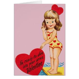 Rétro carte de Saint-Valentin de nageur/plongeur