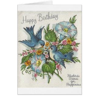 Rétro carte de voeux bleue d'anniversaire d'oiseau