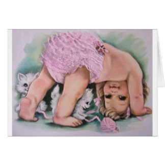 Rétro carte de voeux de bébé et de chatons