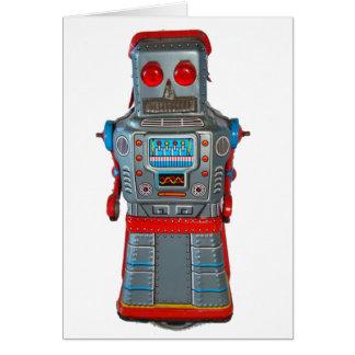Rétro carte de voeux de blanc de robot