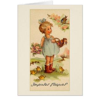 Rétro carte de voeux de Pâques de Français