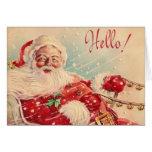 Rétro carte de voeux de Père Noël de Noël