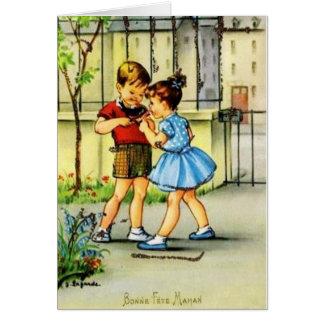 Rétro carte de voeux française d'anniversaire de