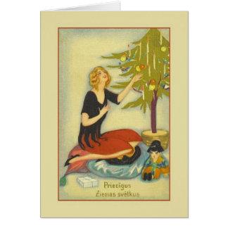 Rétro carte de voeux letton de Noël