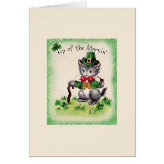Rétro carte du jour de St Patrick de lutin de chat