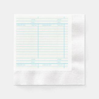 Rétro carte due de date de livre de bibliothèque serviettes jetables
