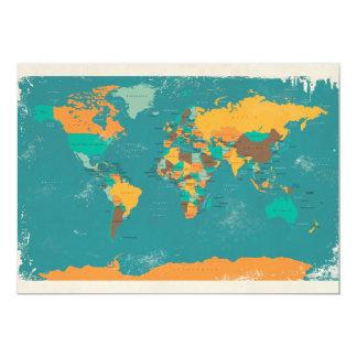 Rétro carte politique du monde carton d'invitation  12,7 cm x 17,78 cm
