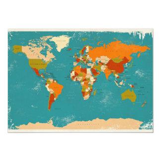 Rétro carte politique du monde faire-part personnalisé