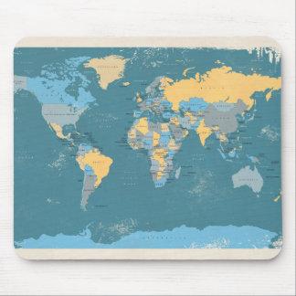 Rétro carte politique du monde tapis de souris