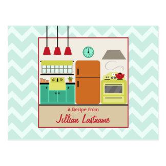 Rétro carte postale colorée de recette de cuisine