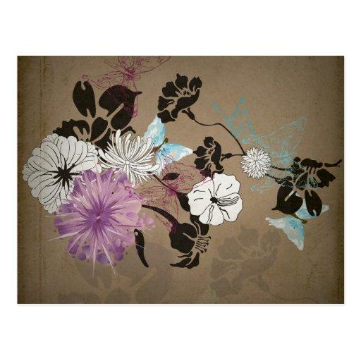 Rétro carte postale de fleurs