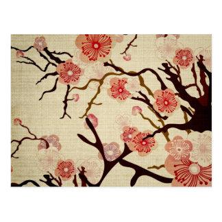 Rétro carte postale de fleurs de cerisier