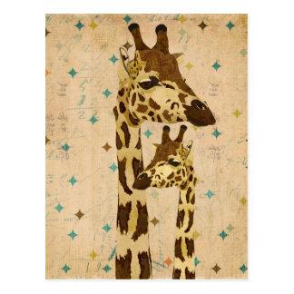 Rétro carte postale de girafes en bronze d'or