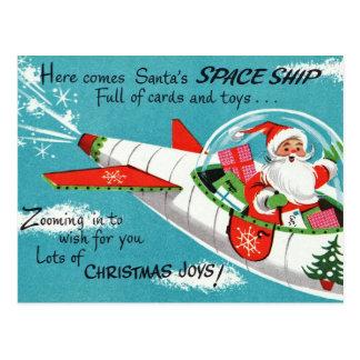 Rétro carte postale de Noël de Père Noël de