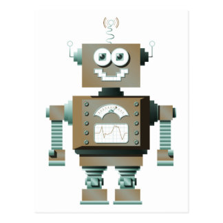 Rétro carte postale de robot de jouet (lt)