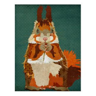 Rétro carte postale d'écureuil ambre