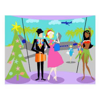 Rétro carte postale hawaïenne de Noël
