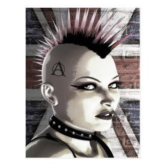 Rétro carte postale punk britannique de fille