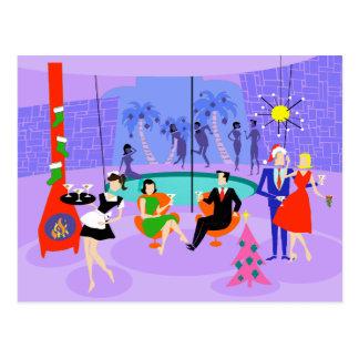 Rétro carte postale tropicale de fête de Noël