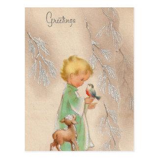Rétro carte postale vintage de Noël de vacances