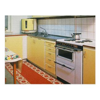 Rétro carte postale vintage de scène de cuisine
