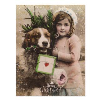Rétro carte postale vintage de vacances de Joyeux