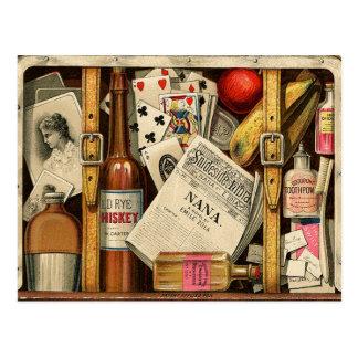 Rétro carte postale vintage de valise de voyage