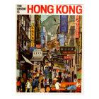 Rétro carte postale vintage Hong Kong Asie de