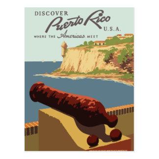 Rétro carte postale vintage Porto Rico de voyage