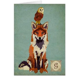 Rétro carte pour notes de monogramme de Fox et de