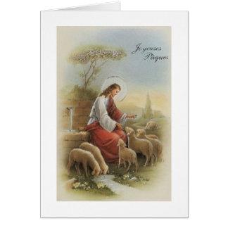 Rétro carte religieuse de Joyeuses Pâque Pâques de