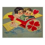 Rétro carte vintage de Valentine d'avion Cartes Postales