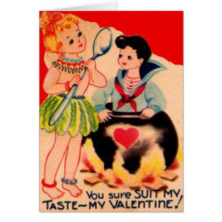 Rétro carte vintage de Valentine de cannibale