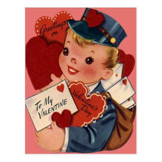Rétro carte vintage de Valentine de facteur