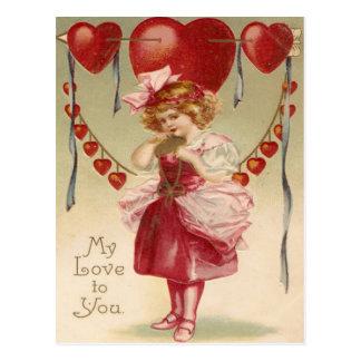 Rétro carte vintage de Valentine de flèches de