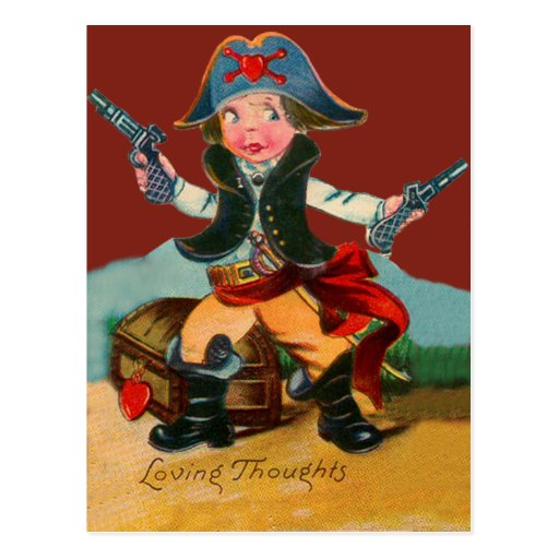 Rétro carte vintage de Valentine de pirate Carte Postale