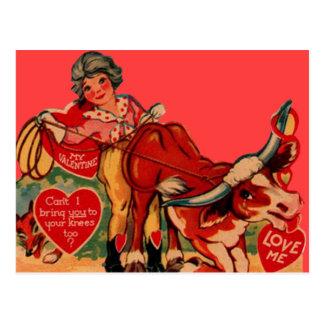 Rétro carte vintage de Valentine de rodéo