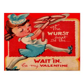 Rétro carte vintage de Valentine de serveuse de