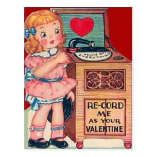 Rétro carte vintage de Valentine de tourne-disque