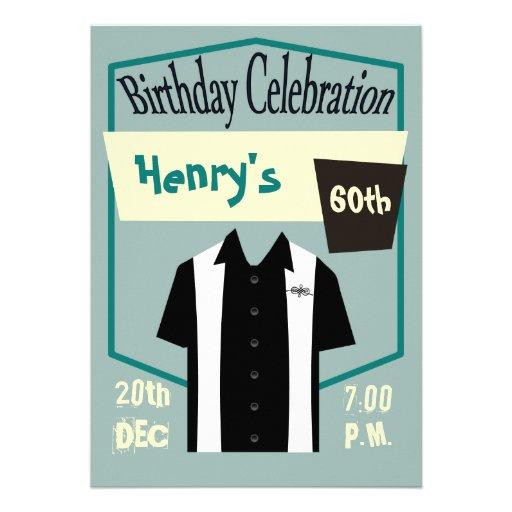 Rétro célébration d'anniversaire de chemise de roc invitation personnalisable